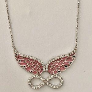 Jewelry - Silver angel wing handmade enamel evileye necklace